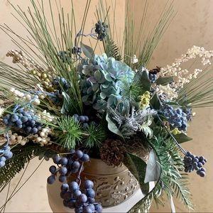 Christmas Blue Hydrangea Arrangement Centerpiece